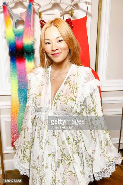 Guest attends the Schiaparelli Cocktail to celebrate Daniel Roseberry first Haute Couture Collection as part of Paris Fashion Week on July 01 2019 in...