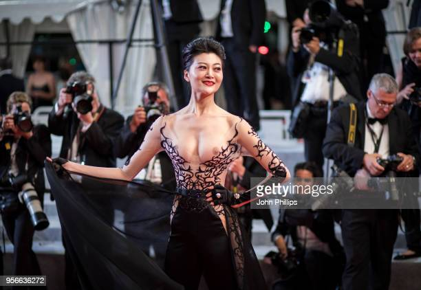 A guest attends the screening of Leto during the 71st annual Cannes Film Festival at Palais des Festivals on May 9 2018 in Cannes France