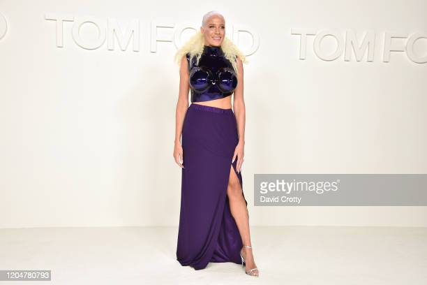 Guest attends the Tom Ford AW/20 Fashion Show at Milk Studios on February 07, 2020 in Los Angeles, California.