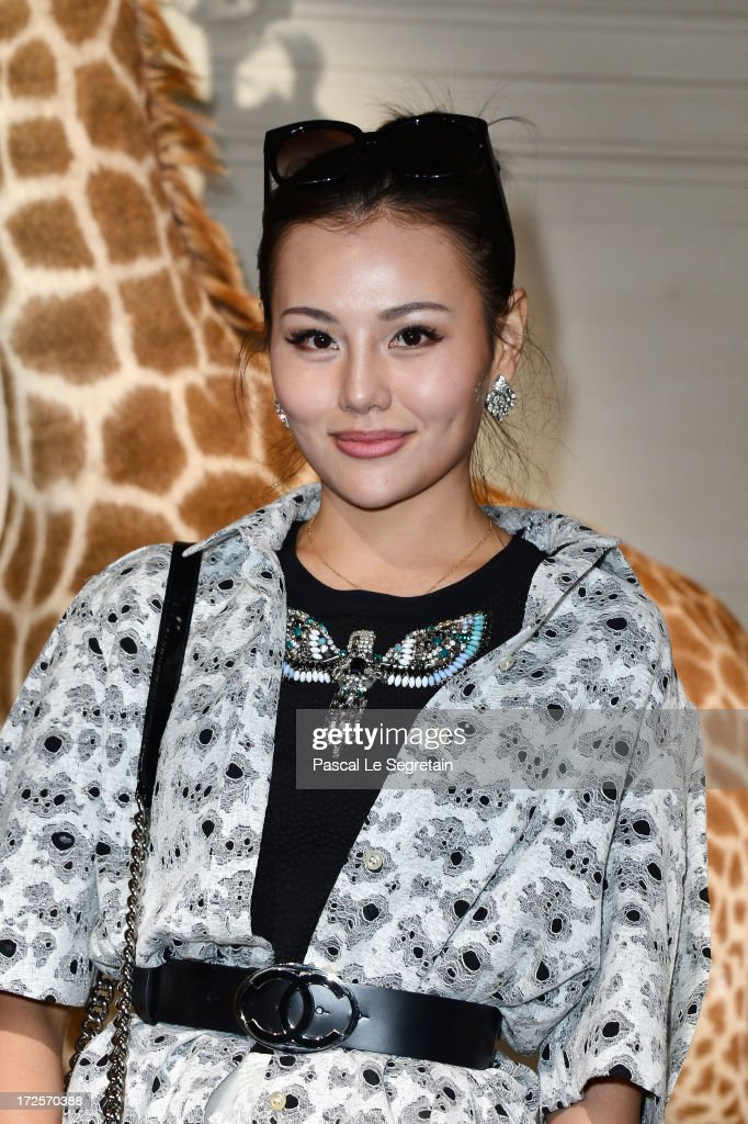 A guest attends the Valentino show as part of Paris Fashion Week Haute-Couture Fall/Winter 2013-2014 at Hotel Salomon de Rothschild on July 3, 2013 in Paris, France.