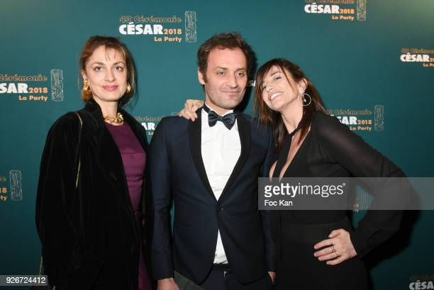 A guest Augustin Trapenard and Albane Cleret attend the Cesar Film Awards 2018 After Party at Le Queen on March 2 2018 in Paris France