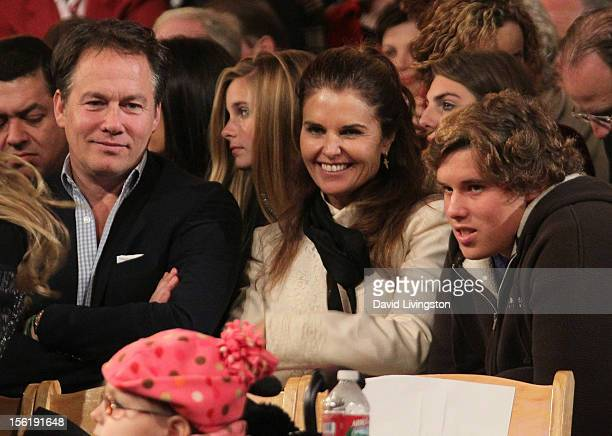 Guest author Maria Shriver and her son Christopher Schwarzenegger attend the 10th Annual Hollywood Christmas Celebration at The Grove on November 11...