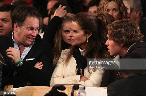 Guest, author Maria Shriver and her son Christopher Schwarzenegger attend the 10th Annual Hollywood Christmas Celebration at The Grove on November...