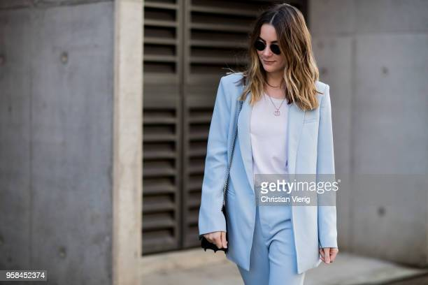 A guest baby blue suit during MercedesBenz Fashion Week Resort 19 Collections at Carriageworks on May 14 2018 in Sydney Australia