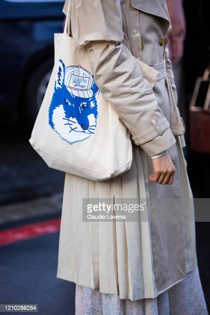 Guest, bag detail, is seen outside Rokh, during Paris Fashion Week - Womenswear Fall/Winter 2020/2021 : Day Six on February 29, 2020 in Paris, France.
