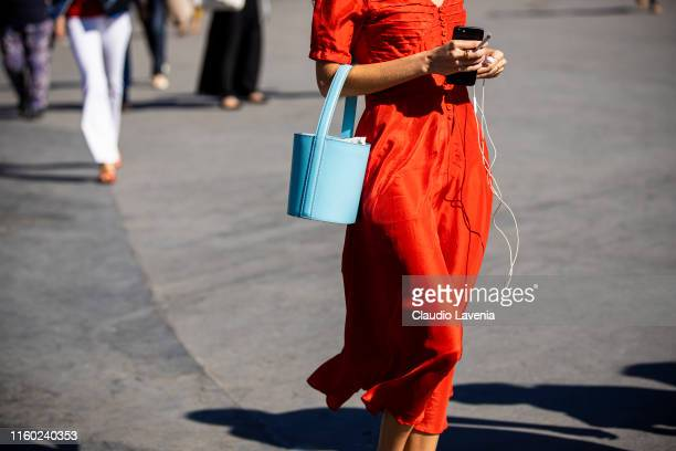 Guest, bag details, is seen outside Chanel show during Paris Fashion Week - Haute Couture Fall/Winter 2019/2020 on July 02, 2019 in Paris, France.