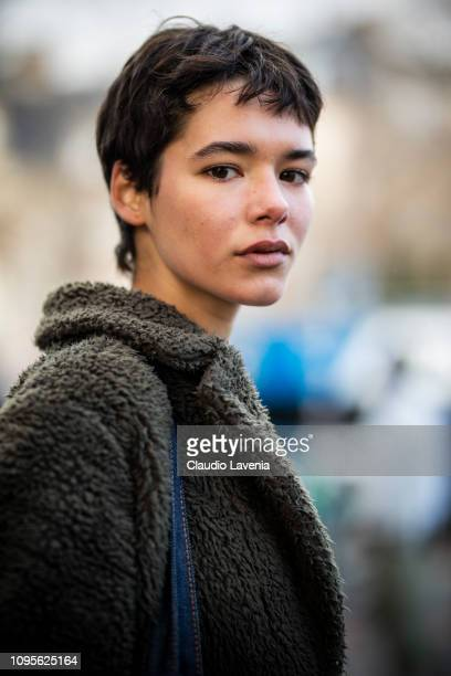 Guest, beauty details, is seen in the streets of Paris before the Issey Miyake Men show on January 17, 2019 in Paris, France.