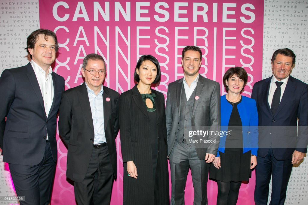 A guest, Benoit Louvet, Fleur Pellerin, Albin Lewi, Nathalie Lesourd and Christian Estrosi attend the 'CanneSeries 2018' press conference on March 13, 2018 in Paris, France.