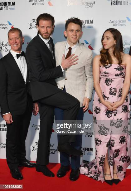 """Guest, Bill Heck, Harry Melling and Zoe Kazan attend the UK Premiere of """"The Ballad of Buster Scruggs"""" & the American Airlines Gala during the 62nd..."""