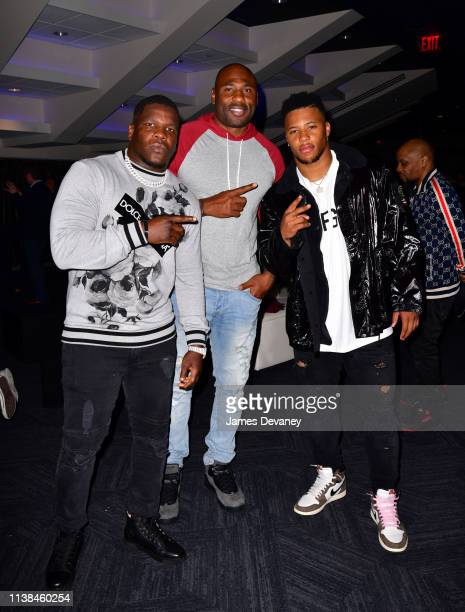 Guest Brandon Jacobs and Saquon Barkley attend Top Rank VIP party prior to the WBO welterweight title fight between Terence Crawford and Amir Khan at...