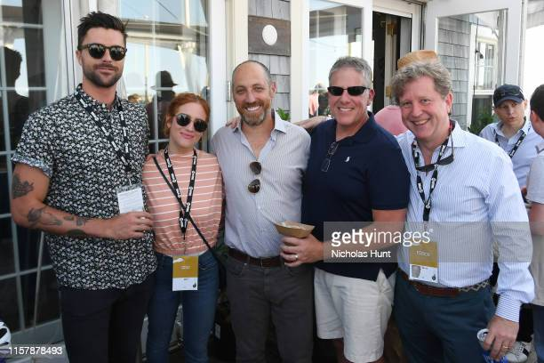 Guest Brittany Snow NFF Cofounder Jonathan Burkhart and Gill Holland attend 'Toast to the End of NFF' at the 2019 Nantucket Film Festival Day Five on...