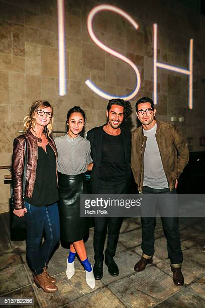 A guest Cara Santana Joey Maalouf and Jesse Metcafe pose for a photo at the FabFitFun and Joey Maalouf's ISH Launch Party at Above SIXTY Beverly...