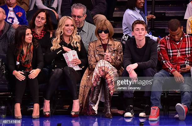 Guest Caroline Wozniacki Anna Wintour and guest attend New York Knicks vs Cleveland Cavaliers game at Madison Square Garden on November 13 2015 in...