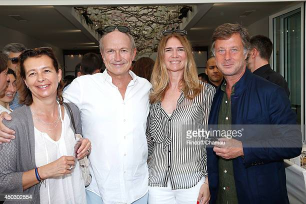 Guest CEO of L'Oreal JeanPaul Agon with his Companion Sophie Agon and CEO Accord Sebastien Bazin attend the Men's Final of Roland Garros French...