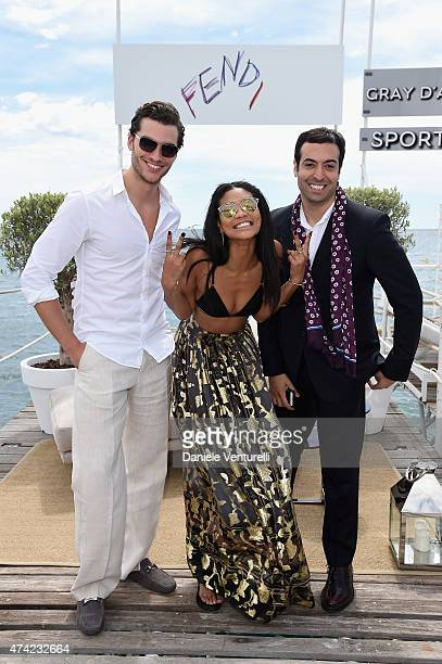 Guest Chanel Iman and Mohammed Al Turki attends the launch of the new Fendi By Karl Lagerfeld Book during the 68th annual Cannes Film Festival on May...