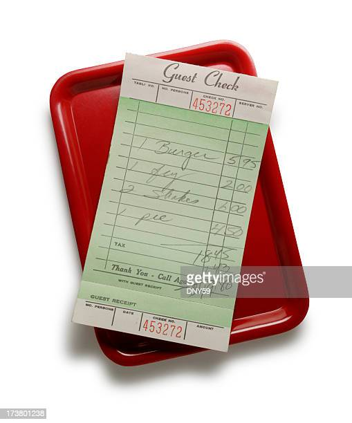 Guest check on red tray