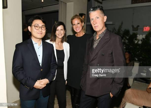 Guest Chrissy Miles Amber Estabrook and Stefano Tonchi attend Vanity Fair x Pérez Art Museum Miami x Genesis Dinner at Forte Dei Marmi on December 03...