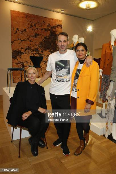 A guest Christiane Arp and Marcus Kurz the Vogue Salon during 'Der Berliner Salon' AW 18/19 at Kronprinzenpalais on January 16 2018 in Berlin Germany