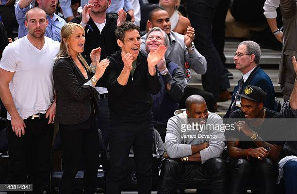 Guest, Christine Taylor, Ben Stiller, Kayne West and guest attend the Miami Heat vs New York Knicks Playoff Game at Madison Square Garden on May 3,...