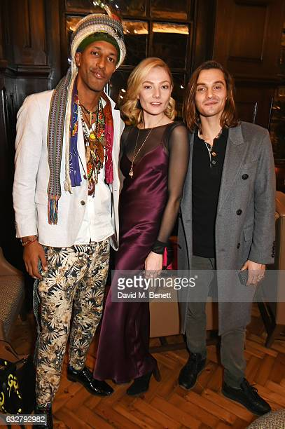 Guest Clara Paget and Oscar Tuttiett attend the launch of new luxury hotel The LaLit London on January 26 2017 in London England