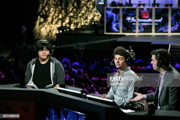 Guest commenter William 'Blitz' Lee speaks at The International DOTA 2 Championships on July 21 2014 in Seattle Washington