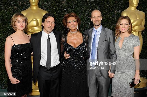A guest composer Carlo Ponti actress Sophia Loren director Edoardo Ponti and actress Sasha Alexander attend AMPAS Tribute To Sophia Loren at AMPAS...