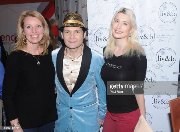 Guest, Corey Feldman, and Courtney Anne Mitchell attend the EcoLuxe Lounge - Park City on January 21, 2018 in Park City, Utah.