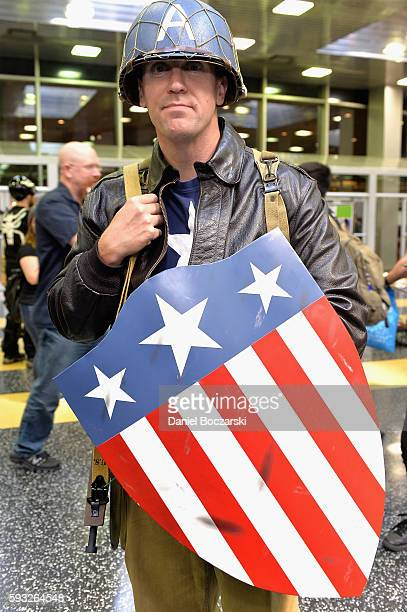 Guest cosplays as Captain America during Wizard World Comic Con Chicago 2016 Day 4 at Donald E Stephens Convention Center on August 21 2016 in...