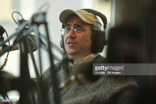 Guest Danny Baker during a prerecorded interview on Christian O'Connell's Breakfast Show at Absolute Radio in Golden Square central London to be...