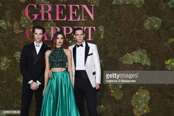Guest, Dayane Mello and Carlo Gussa attend the Green Carpet Fashion Awards at Teatro Alla Scala on September 23, 2018 in Milan, Italy.