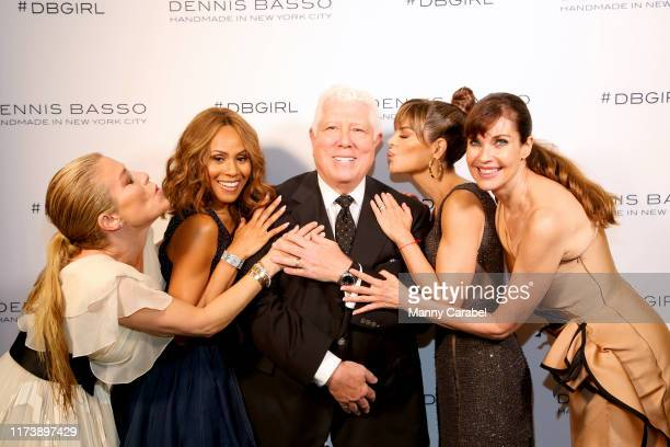 A guest Deborah Cox designer Dennis Basso Lisa Rinna and Carol Alt are seen backstage for Dennis Basso during New York Fashion Week The Shows at...