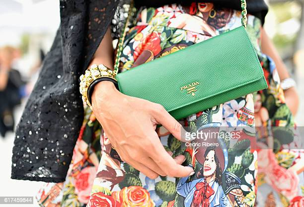 A guest detail attends Fashion Forward Spring/Summer 2017 at the Dubai Design District on October 23 2016 in Dubai United Arab Emirates