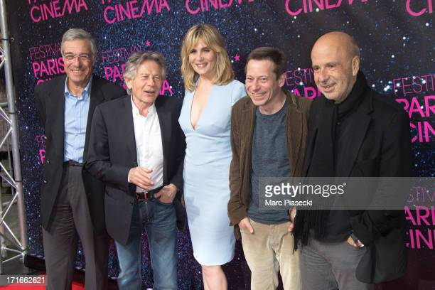 Guest Director Roman Polanski actress Emmanuelle Seigner actor Mathieu Amalric and producer Alain sarde attend the 'Festival Paris Cinema' opening...