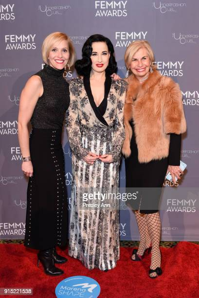 Guest Dita Von Teese and Karen Bromley attend 2018 Femmy Awards hosted by Dita Von Teese on February 6 2018 in New York City