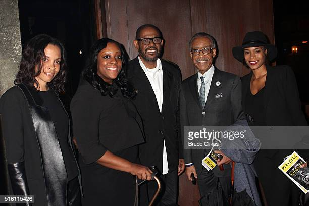 Guest Dominique Sharpton Forest Whitaker Al Sharpton and girlfriend Aisha McShaw pose backstage at the hit play Hughie on Broadway at The Booth...