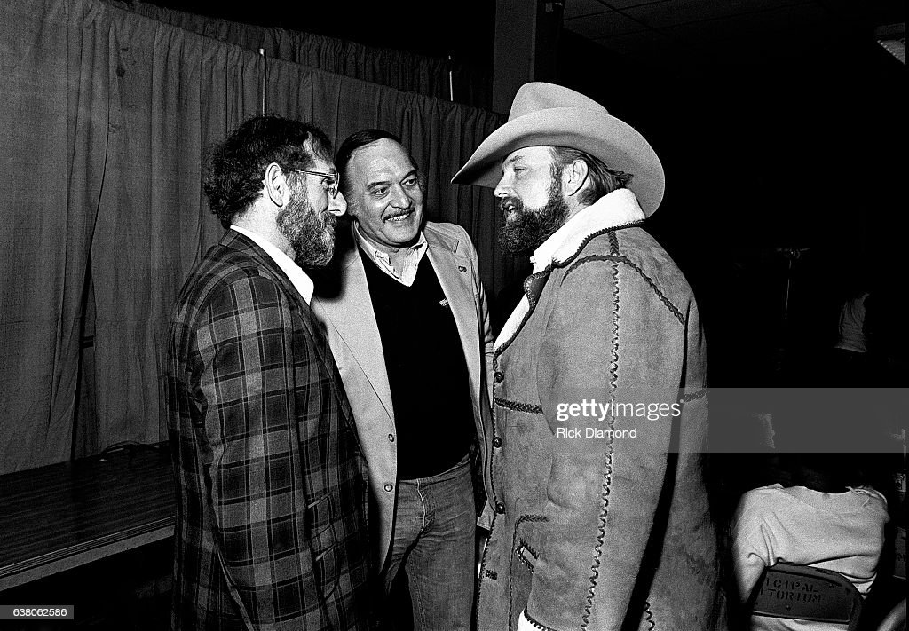 Guest, Donald Dempsey GM Epic Portrait Associated Labels and Charlie Daniels backstage during Charlie Daniels Volunteer Jam VII at the Municipal Auditorium in Nashville Tennessee January 12, 1980