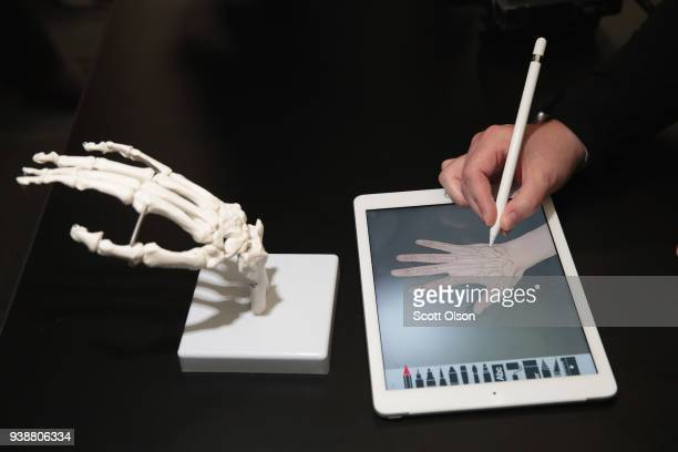 A guest draws the bones of the hand on Apple's new 97inch iPad during an event held to introduce the device at Lane Tech College Prep High School on...