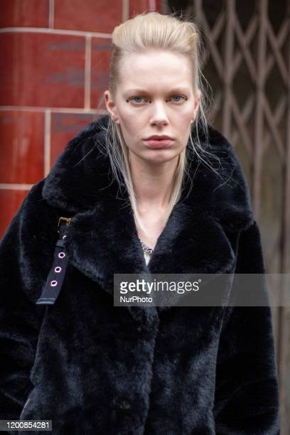 A guest during London Fashion Week February 2020 on February 14 2020 in London England