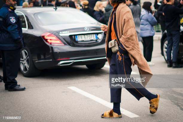 A guest during Milan Fashion Week Menswear Fall/Winter 2020/2021 on January 14 2020 in Milan Italy