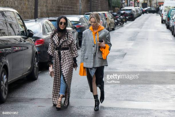 A guest during Paris Fashion Week Womenswear Fall/Winter 2017/2018 on March 5 2017 in Paris France