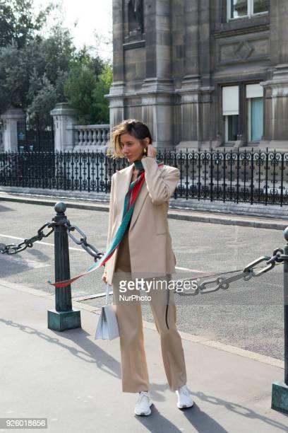 A guest during Paris Fashion Week Womenswear Fall/Winter 2018/2019 on February 28 2018 in Paris France