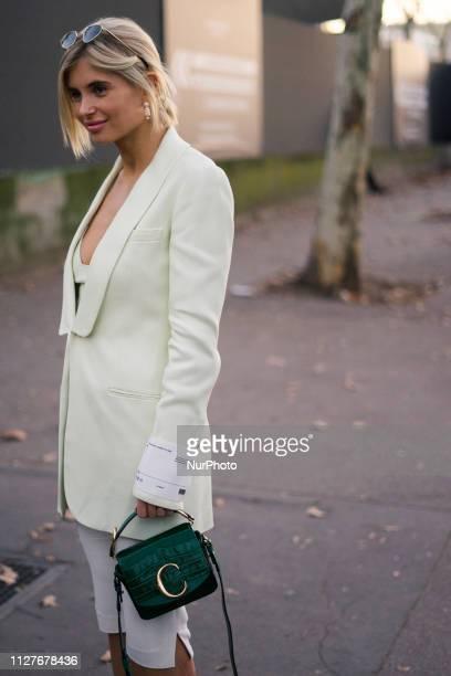 A guest during Paris Fashion Week Womenswear Fall/Winter 2019/2020 on February 26 2019 in Paris France