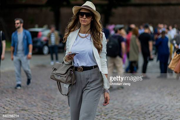 A guest during Pitti Uomo 90 on June 14 in Florence Italy