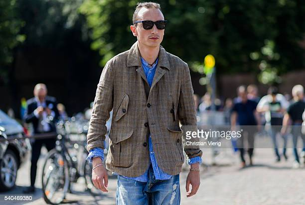 Guest during Pitti Uomo 90 on June 15 in Florence, Italy
