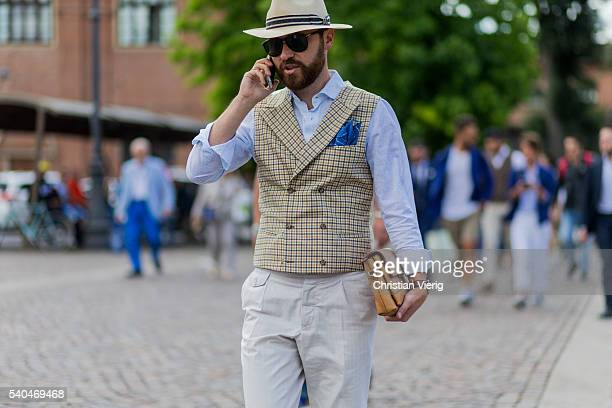 A guest during Pitti Uomo 90 on June 15 in Florence Italy
