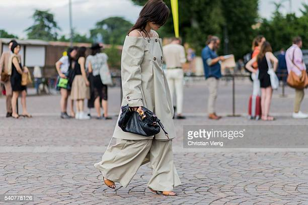 A guest during Pitti Uomo 90 on June 16 in Florence Italy