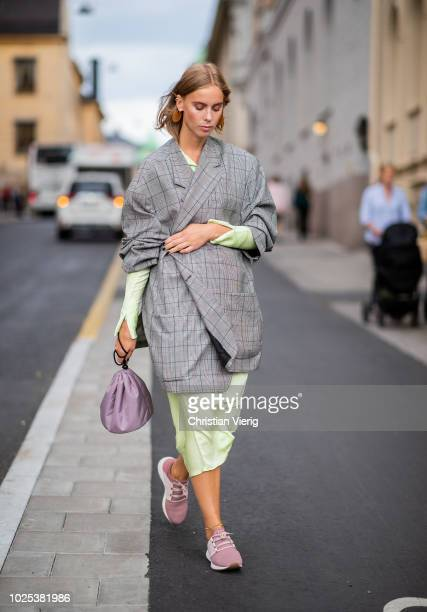 A guest during Stockholm Runway SS19 on August 30 2018 in Stockholm Sweden
