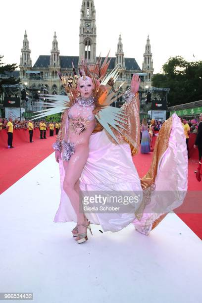 A guest during the Life Ball 2018 at City Hall on June 2 2018 in Vienna Austria The Life Ball an annual charity event raising funds for HIV AIDS...