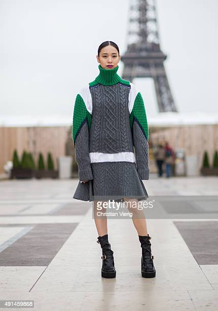 A guest during the Paris Fashion Week Womenswear Spring/Summer 2016 on October 5 2015 in Paris France