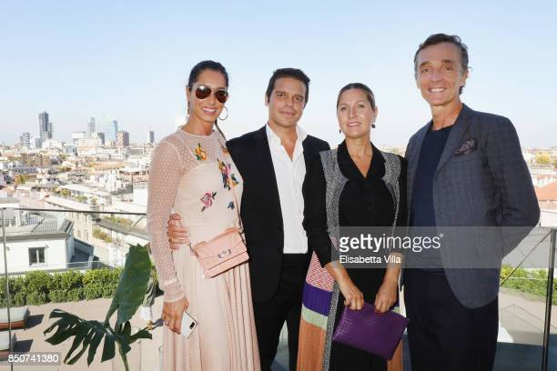 Guest Edoardo Caovilla Anthony Saccon and his wife attend the Rene Caovilla presentation during Milan Fashion Week Spring/Summer 2018 on September 21...